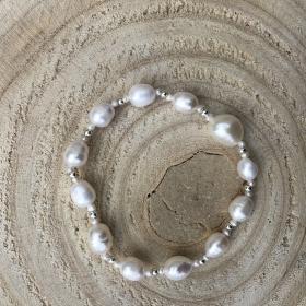 Simple Silver Perlový náramok z pravých riečnych perál