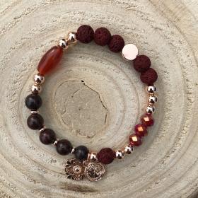Krištáľový náramok bordový - prívesok kvet a minca