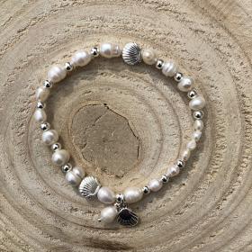 Perlový náramok z pravých riečnych perál so striebornou mušľou