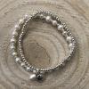 Dvojitý perlový náramok z pravých riečnych perál so striebornou mušľou