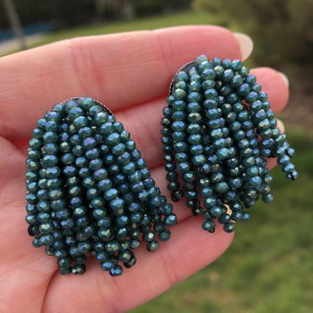 Crystal Beads Dayra náušnice zelené