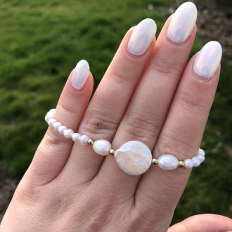 Perlový náramok z pravých riečnych perál