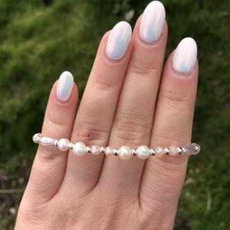 Ružovo biely perlový náramok z pravých riečnych perál