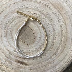 Double Gold Perlový náramok z pravých riečnych perál