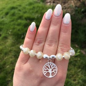 Perlový náramok z pravých riečnych perál s príveskom - strom života