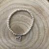 Perlový náramok z pravých riečnych perál s príveskom v tvare srdiečka