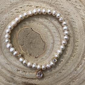 Perlový náramok z pravých riečnych perál so zirkónom