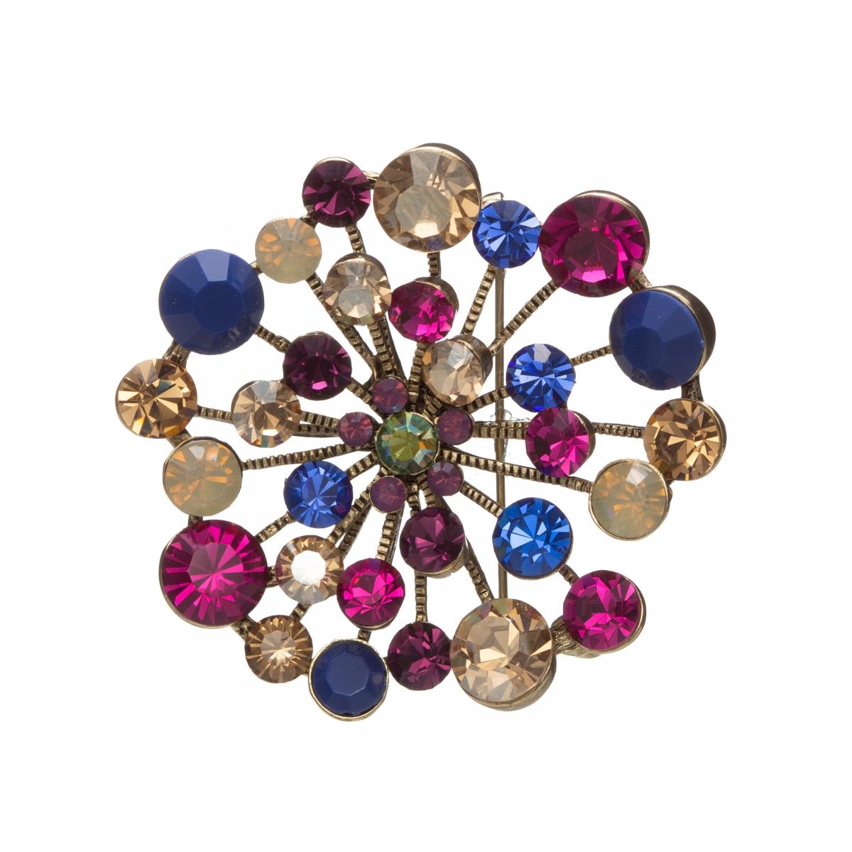 Brošňa Star Shine Fuchsia - Blue Swarovski Crystals Antique Gold