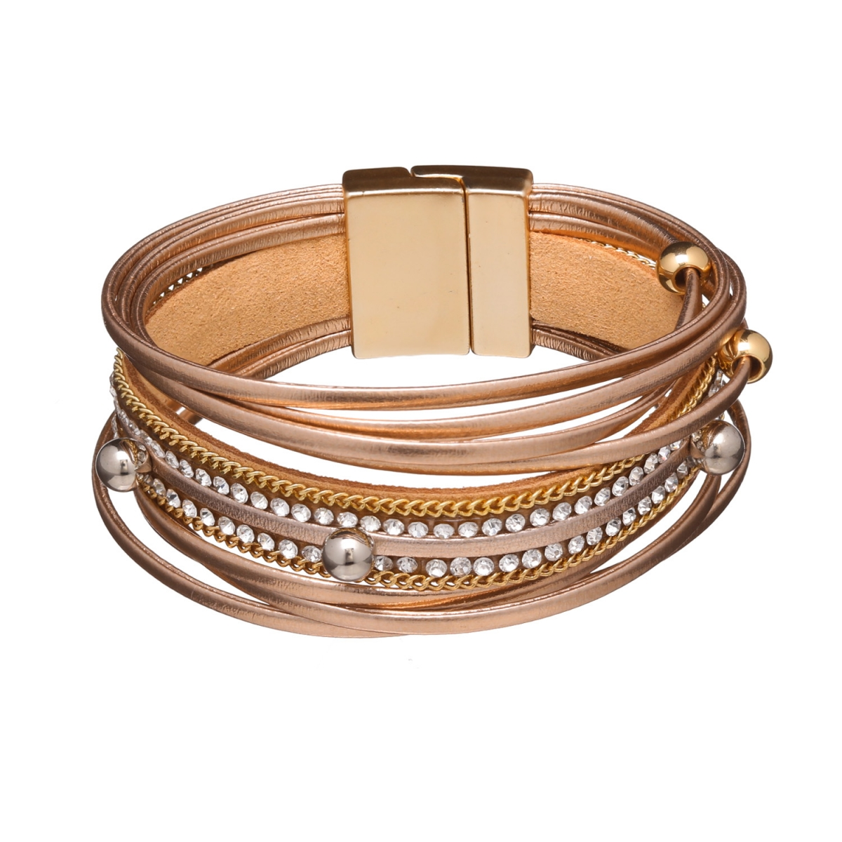 Náramok Glam Rock Rose Gold Eco Leather Rose Gold