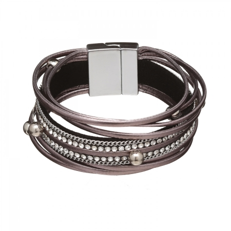 Náramok Glam Rock Gun Metal Eco Leather Silver