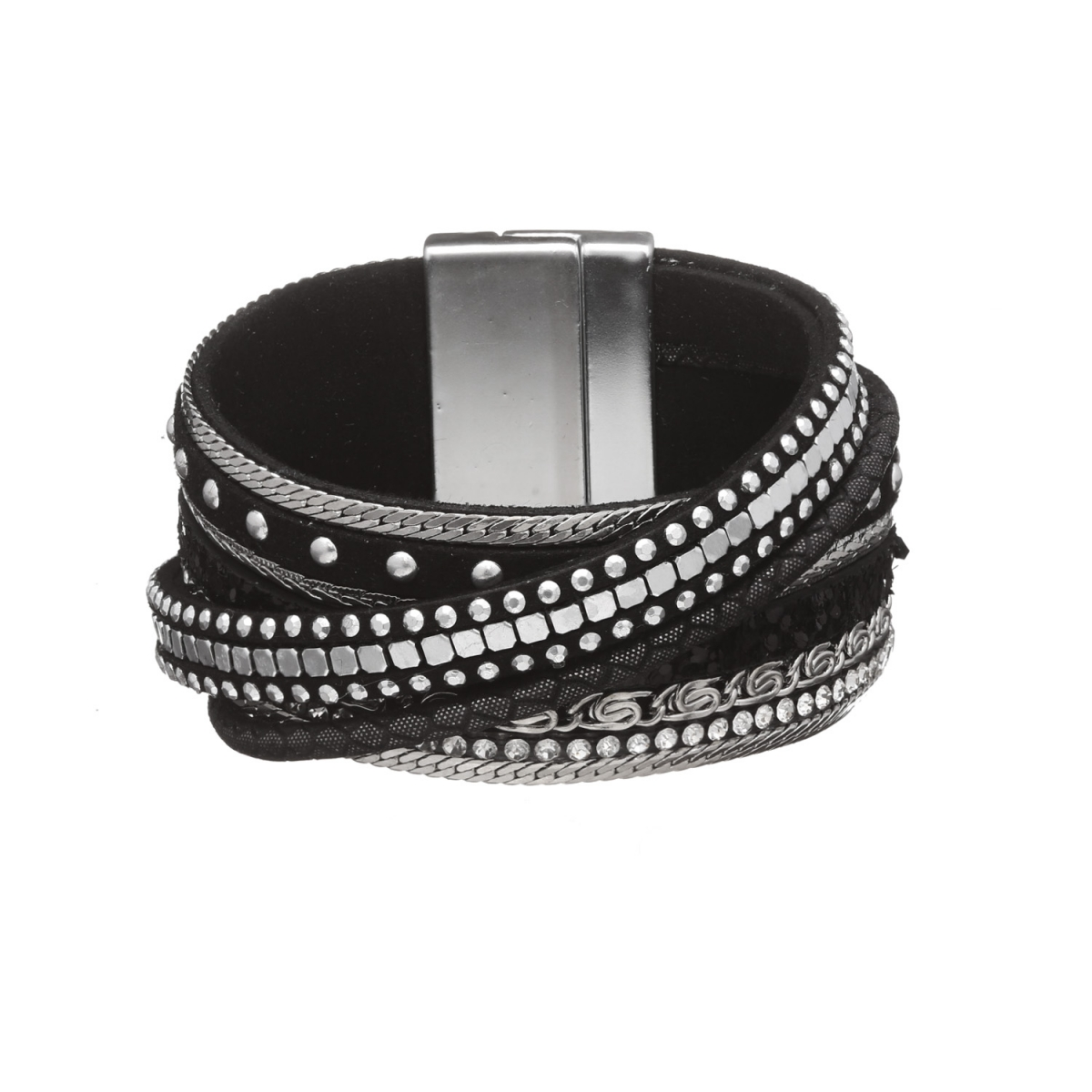 Náramok Glam Rock Black Eco Leather Silver