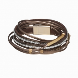 Náramok Glam Rock Dark Brown Double Eco Leather Gold