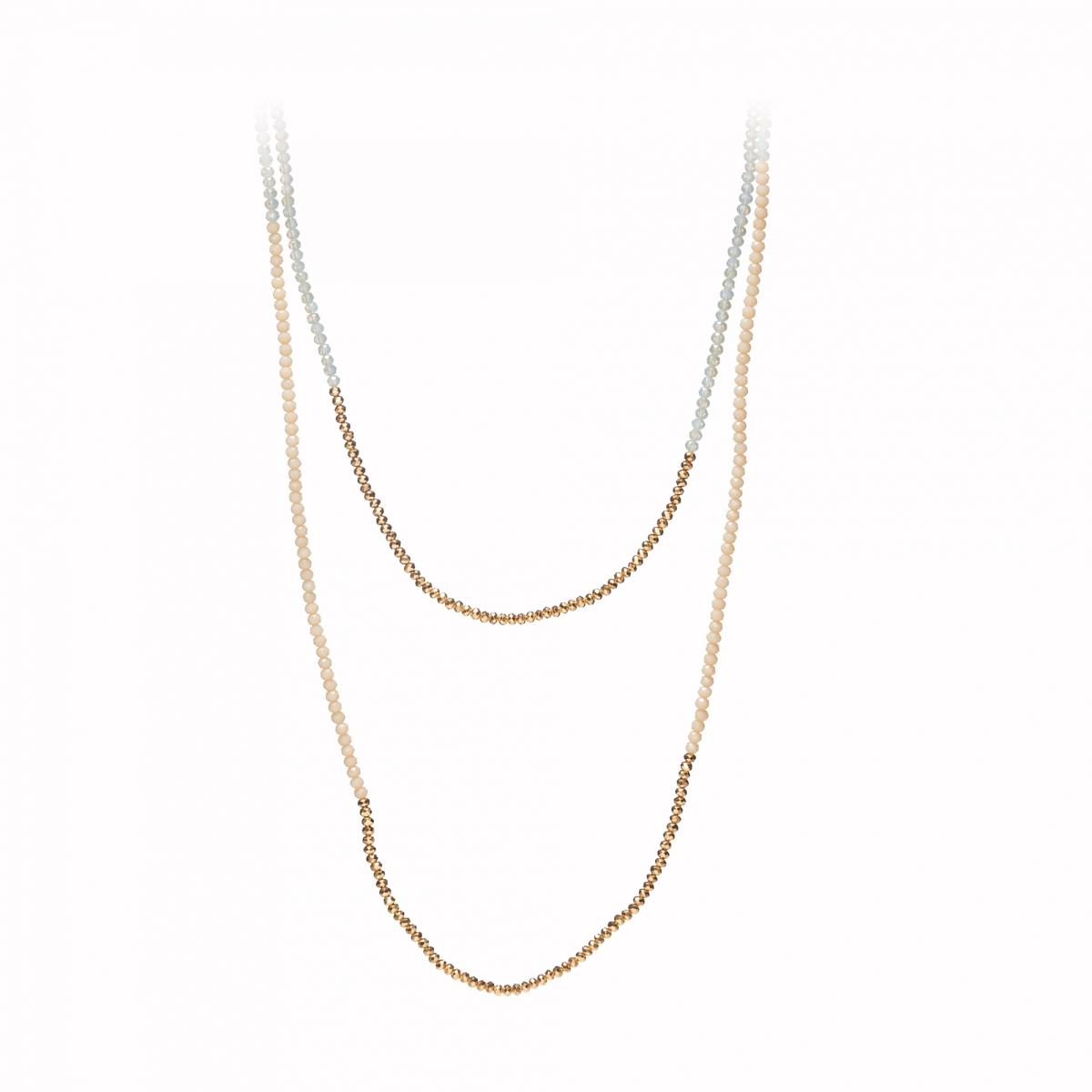 Náhrdelník Simple Cream Gold Crystal Beads