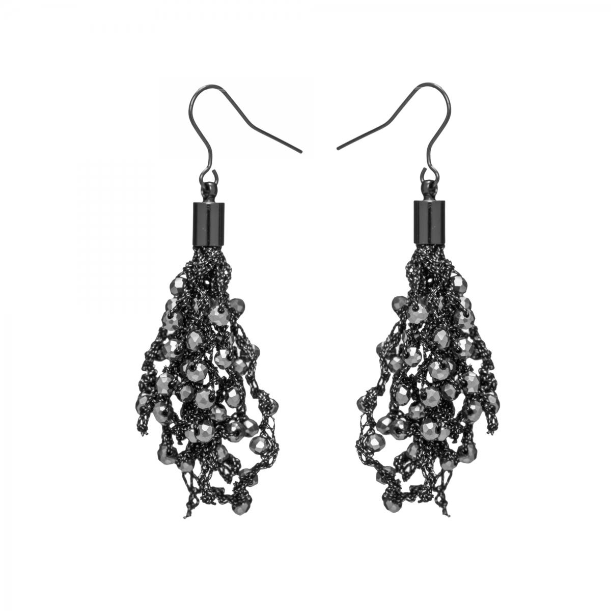 Náušnice Dara Hematit Crystal Beads