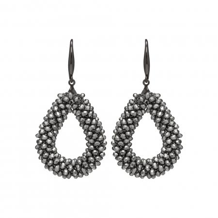 Náušnice Dila Hematit Crystal Beads
