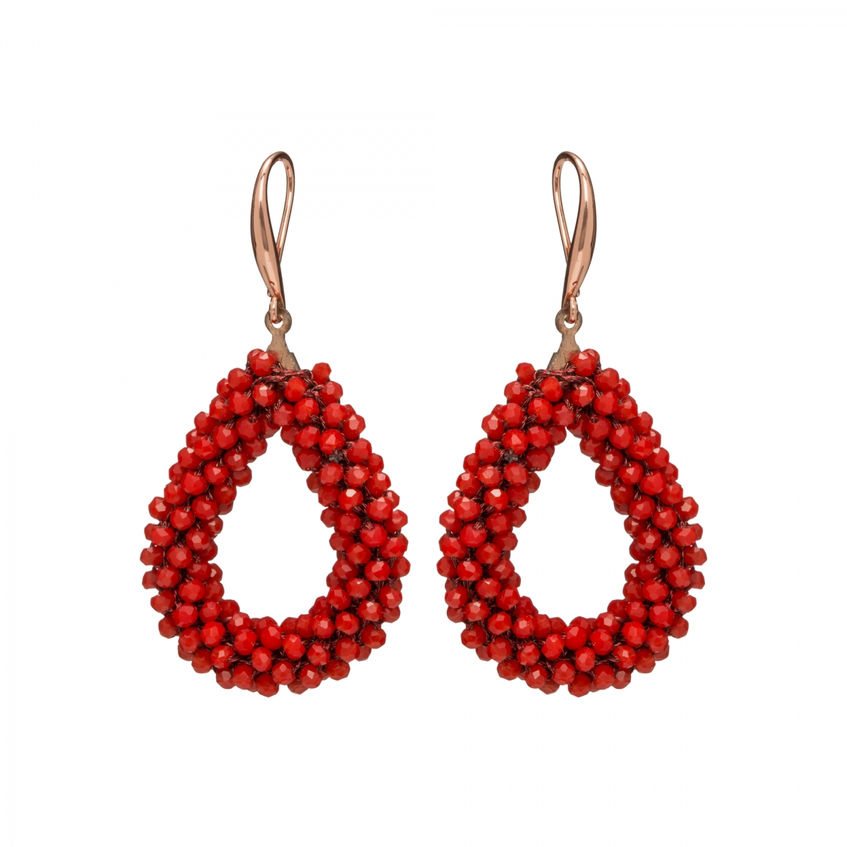 Náušnice Dila Red Rose Gold Crystal Beads