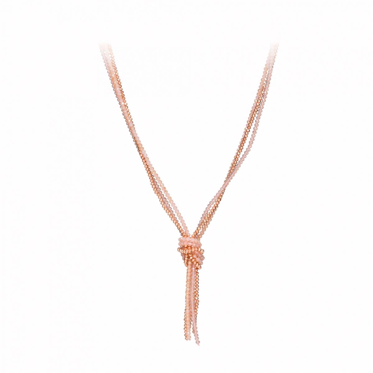 Náhrdelník Knot Pink Rose Gold Crystal Beads