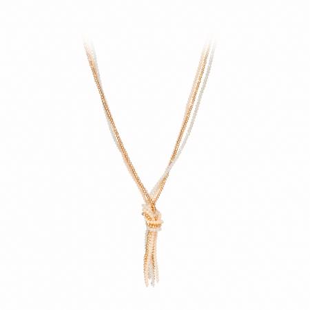 Náhrdelník Knot Cream Gold Crystal Beads