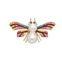 Brošňa Bee Colourful Crystal Pearl Gold