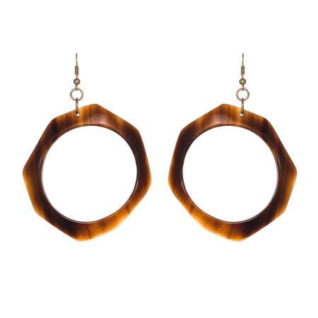 Náušnice Statement Brown Resin Geometric
