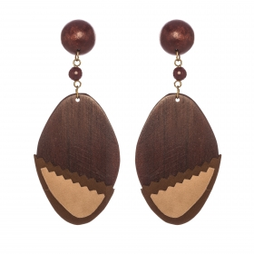 Náušnice Brown Wood Leather Oval Statement