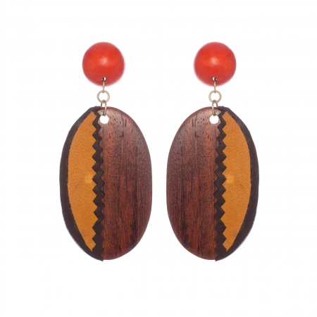 Náušnice Orange Wood Leather Oval Statement
