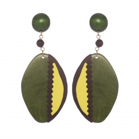 Náušnice Green Wood Leather Oval Statement