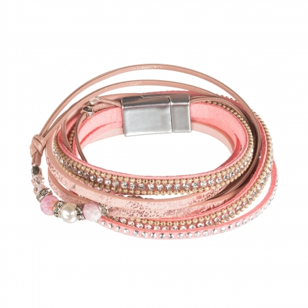 Náramok Shic Light Pink Eco Leather Silver