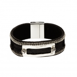 Náramok Snake Print Eco Leather Black Slim Silver