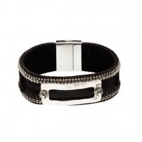 Náramok Snake Print Eco Leather Black Slim Silver