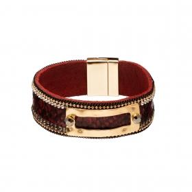Náramok Snake Print Eco Leather Dark Red Slim Gold