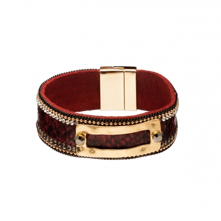 Náramok Snake Print Eco Leather Dark Red Slim Gold