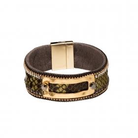 Náramok Snake Print Eco Leather Green Slim Gold