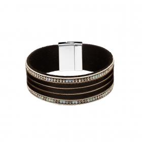 Náramok Eco Leather Simple Black Line Crystals Silver