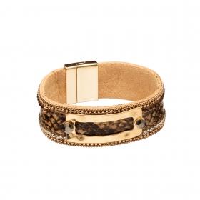 Náramok Snake Print Eco Leather Brown Slim Gold
