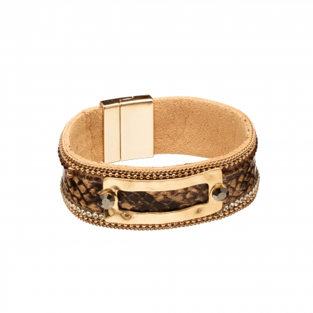 Náramok Snake Print Eco Leather Brown Slim Gold