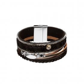 Náramok Snake Print Metal Eco Leather Black Silver