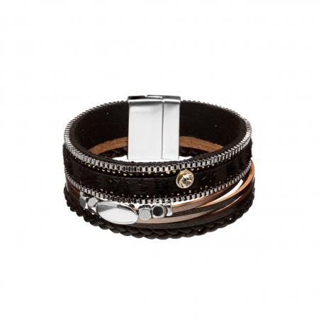 Náramok Snake Print Metal Eco Leather Black Silver