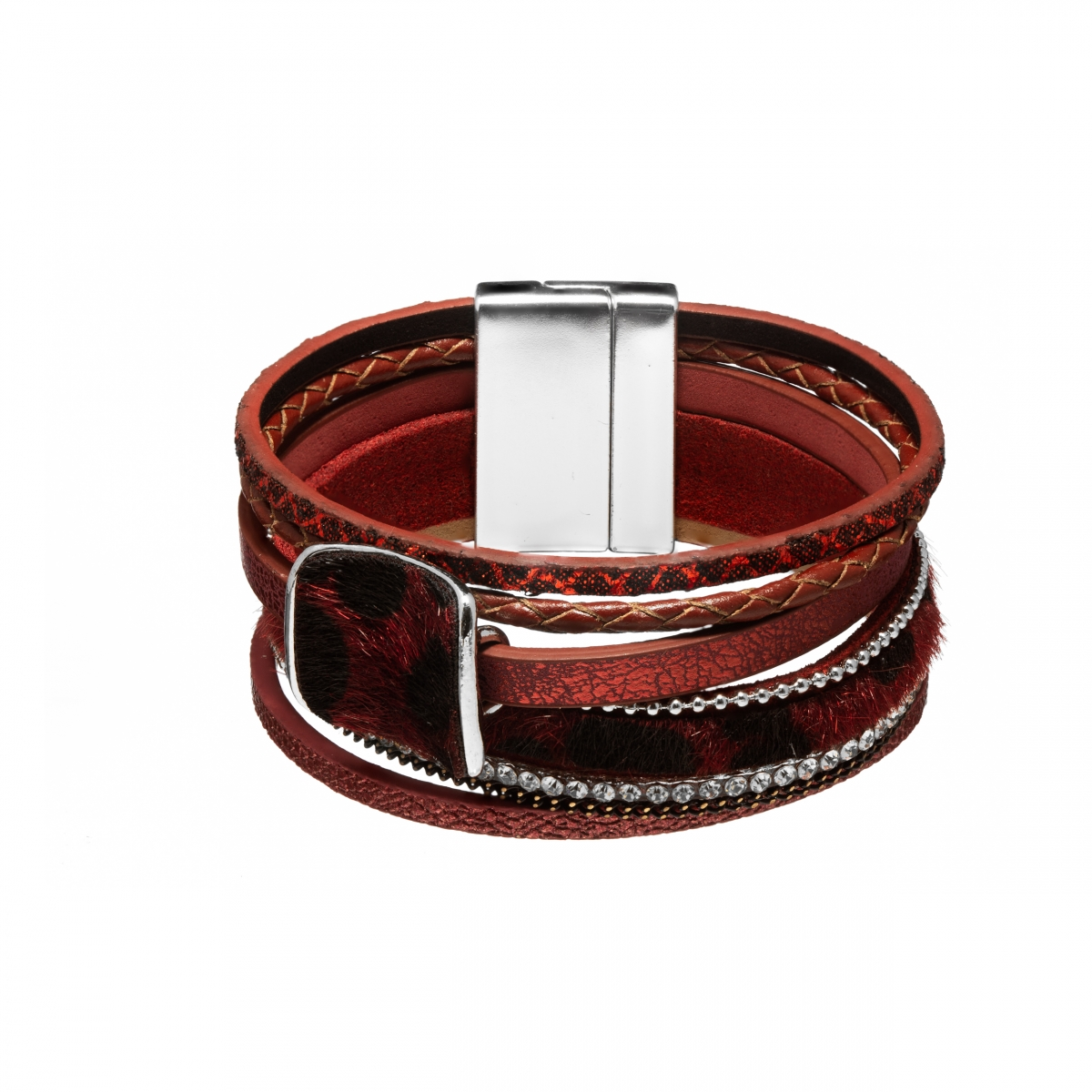 Náramok Snake Print Fluffy Eco Leather Dark Red Gold