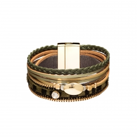 Náramok Snake Print Metal Eco Leather Green Gold