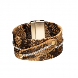 Náramok Snake Print Eco Leather Brown Wide Gold