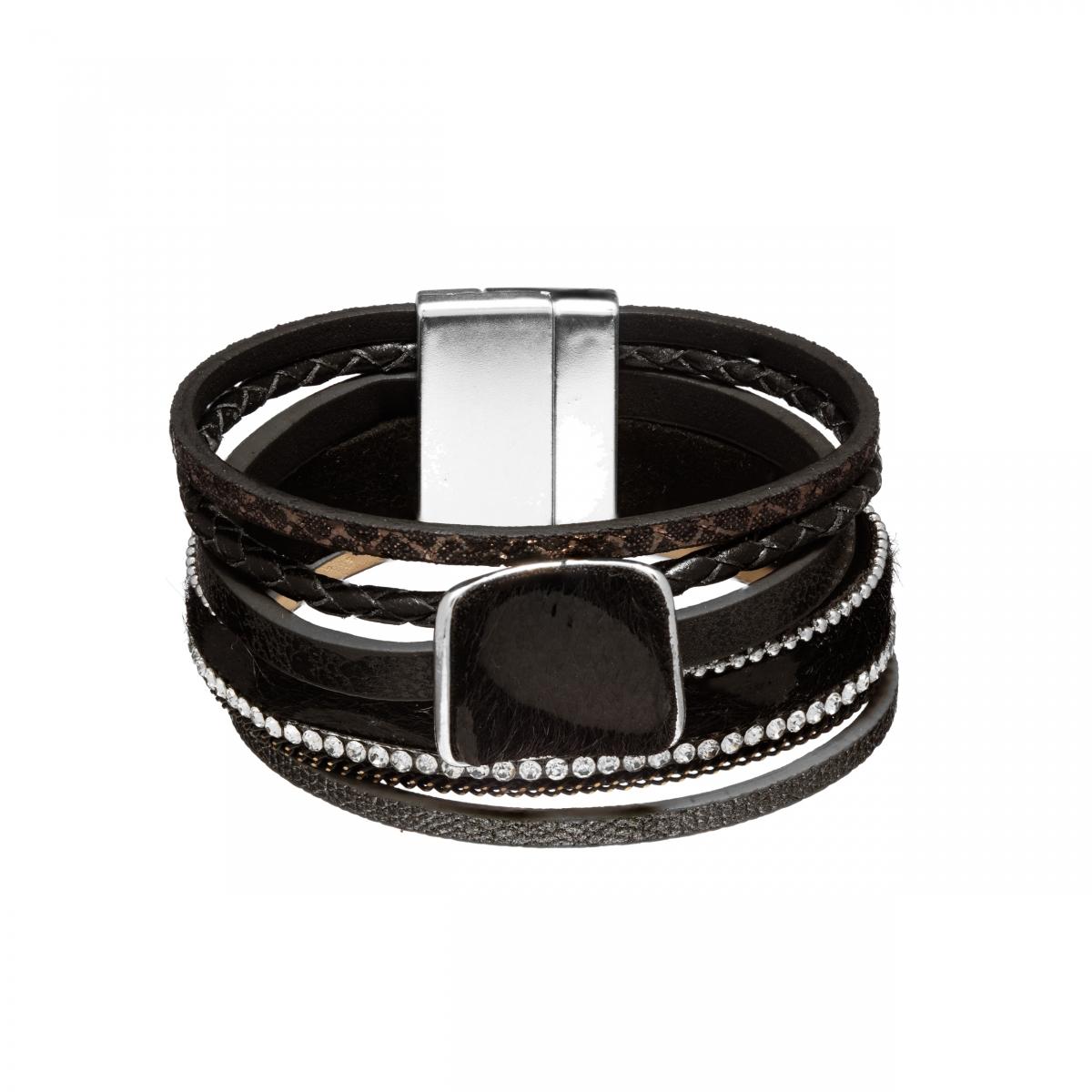 Náramok Snake Print Fluffy Eco Leather Black Silver