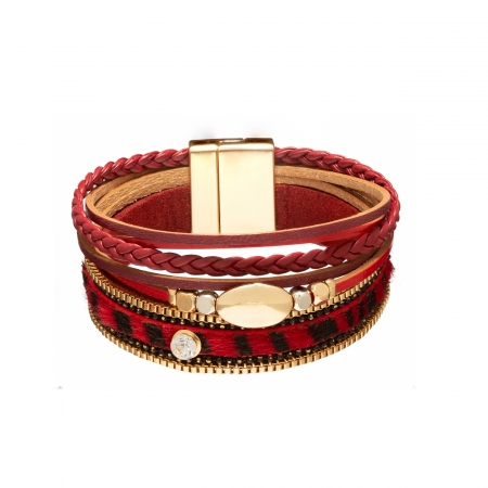 Náramok Snake Print Metal Eco Leather Dark Red Gold