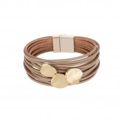 Náramok Fashion Style Eco Leather Light Brown Triple Gold Plains Gold