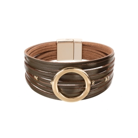 Náramok Fashion Style Eco Leather Olive Green Gold Circle Gold