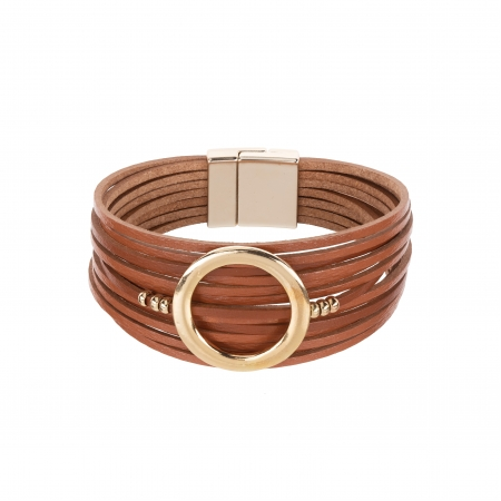 Náramok Fashion Style Eco Leather Cognac Brown Gold Circle Gold
