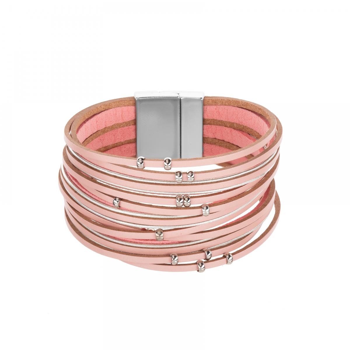 Náramok Fashion Style Eco Leather Light Pink Silver