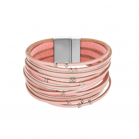 Náramok Fashion Style Eco Leather Light Pink Silver