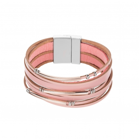 Náramok Fashion Style Eco Leather Light Pink Minimalistic Silver