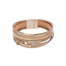 Náramok Fashion Style Eco Leather Light Brown Metal Lines Gold